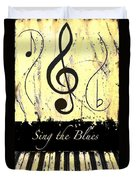 Sing The Blues Yellow Duvet Cover