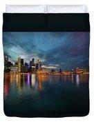 Singapore City Skyline At Evening Twilight Duvet Cover
