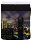Singapore Cityscape On A Cloudy Night Duvet Cover