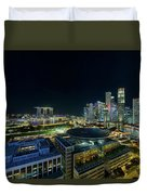 Singapore Modern Skyline By The River At Night Duvet Cover