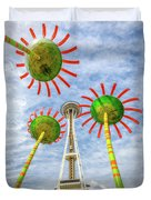 Singing Flowers Under The Space Needle Duvet Cover