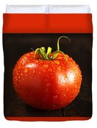 Single Fresh Tomato With Dew Drops Duvet Cover