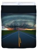 Single Lane Road Leading To Storm Cloud Duvet Cover