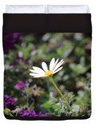 Single White Daisy On Purple Duvet Cover