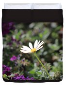 Single White Daisy On Purple Duvet Cover