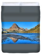 Sinopah Mountain Panoramic Reflections  Duvet Cover