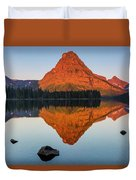 Sinopah Mountain Reflected In Two Medicine Lake At Sunrise Duvet Cover