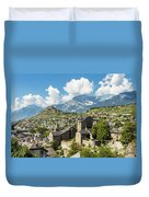 Sion Old Town In Switzerland Duvet Cover