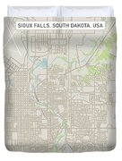 Sioux Falls South Dakota Us City Street Map Duvet Cover