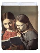 Sisters Reading A Book Duvet Cover