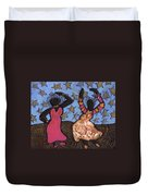 Sisters Sarah Sue And Sally Mae Swinging The Night Away Duvet Cover