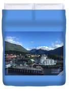 Sitka From The Waterfront Showing The Three Sisters In The Back 2015 Duvet Cover