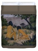 Sitting And Kneeling Figures On The Bank Of The Moritzburg Lakes Duvet Cover