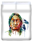 Sitting Bull Watercolor Painting Duvet Cover