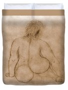 Sitting Fat Nude Woman Duvet Cover
