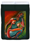 Sitting Woman In Fixed Motion Duvet Cover