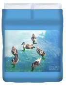 Six Ducks Swim Together Duvet Cover