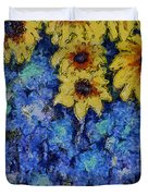 Six Sunflowers On Blue Duvet Cover