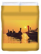 Six Thai Wooden Boats Floating And Glittering In The Lagoon During Golden Sunset Koh  Duvet Cover