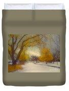 Skaha Path In Winter Duvet Cover