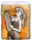 Skateboard Pin-up Illustration Duvet Cover