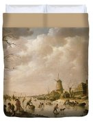 Skaters On A Frozen Canal Duvet Cover by Hendrik Willem Schweickardt