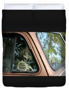 Skeleton Behind The Wheel Of Chevy Truck Duvet Cover