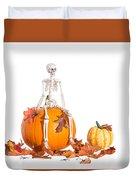 Skeleton Sitting On Pumpkin Duvet Cover