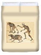 Skeletons Of Man, Ape, Bear, 1860 Duvet Cover