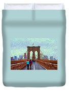 Sketch Of Brooklyn Bridge Pedestrians Duvet Cover