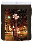 Sketch Of Midtown Clock In The Snow Duvet Cover