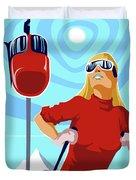 Ski Bunny Retro Ski Poster Duvet Cover
