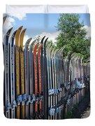 Ski Fence Duvet Cover