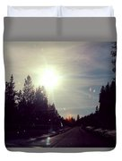 Ski Lodge Road Duvet Cover