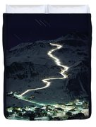 Skiers Bearing Torches Ski Down Mont Duvet Cover