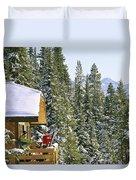 Skiers On Balcony Of Ski Lodge Prepare Duvet Cover
