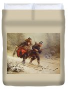 Skiing Birchlegs Crossing The Mountain With The Royal Child Duvet Cover