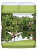 Skipping Sandhill Crane By Pond Duvet Cover