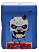 Skull Fun House Sign Duvet Cover