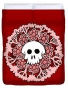 Skull Mandala Pink Duvet Cover
