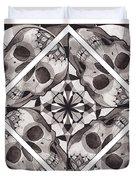 Skull Mandala Series Number Two Duvet Cover by Deadcharming Art