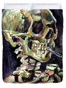 Skull Of A Skeleton With Burning Cigarette Duvet Cover