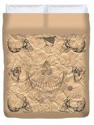 Skulls In Grunge Style Duvet Cover
