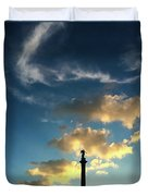 Sky Clouds And Statue In Stuttgart Germany Duvet Cover