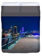 skyline and river coast scenes in Jacksonville Florida Duvet Cover