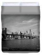 Skyline And The Brooklyn Bridge Duvet Cover