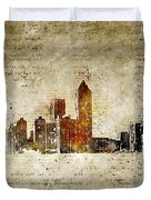 skyline of Atlanta in modern and abstract vintage-look Duvet Cover