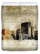 skyline of Denver in modern and abstract vintage-look Duvet Cover