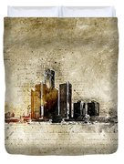 skyline of Detroit in modern and abstract vintage-look Duvet Cover