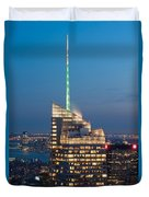 Skyscraper Lit Up At Night, One World Duvet Cover